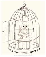 Commission: Bird Caged Sketch by j-b0x