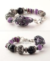 Purple grey and black bracelet by ukapala