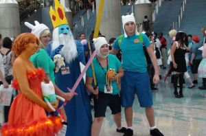 Ice King, Flame Princess, Finn, and Fiona by trivto