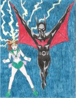 Batman Beyond + Sailor Jupiter by minkous