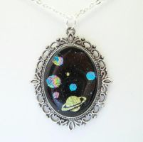 GALAXY SPACE DICHROIC FUSED GLASS PENDANT by HoneyCatJewelry