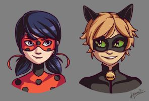 Ladybug and Chat Noir by keinneb
