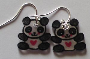 Kawaii Heart Panda earrings by Lovelyruthie