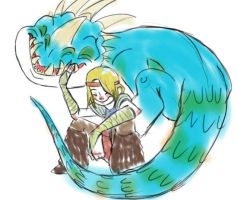 Astrid and Nadder Sketch by JenWorks
