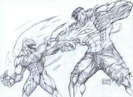 Venom vs. Hulk 2008 drawing by MetaWorks