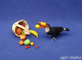 Handmade Toco Toucan 1:12 scale by AGZR-STUDIOS