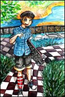 Levi with Longboard by Niina-Bean