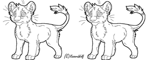 Standing Lion Cub Template by KasaraWolf