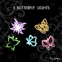 5 PNG Lights of Butterfly by KrisPS