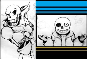 Papyrus and Sans by snowconeXD