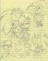 Sonally and Sonadow sketch by SonicMiku