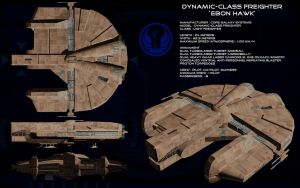 Dynamic class freighter Ebon Hawk ortho by unusualsuspex
