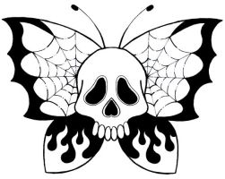 skull butterfly by ratdaddytattoo