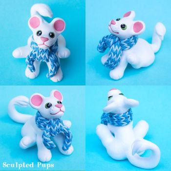White lion with winter scarf by SculptedPups