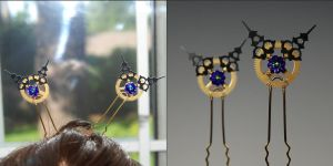 Steampunk Heliotrope Hair Pins V21- SOLD by YouniquelyChic