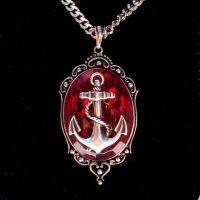 ANCHOR Pendant Necklace RED by Horribell-Originals