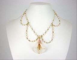 Pearl Calla Lily Necklace by Lady-Blue