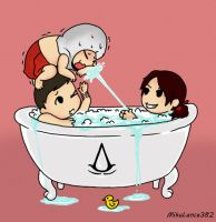 Rub-a-Dub-Dub. Three Assassins in a Tub... kind of by MikuLance382