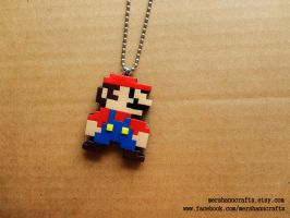 Super Mario 8bit Pixel Necklace by MerShannCrafts