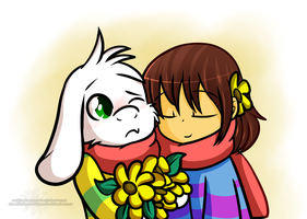 Frisk And Asriel by xWhiteDreamsx