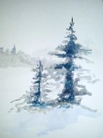 Firs in snow by grafithjarta