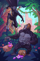 Black Panther Vs. Gorilla Grodd by drawerofdrawings