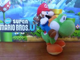 Mario riding on Yoshi Plushie by CloTheMarioLover