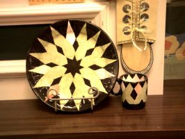 Geometric Plate and cup set by ShiningamiMaxwell