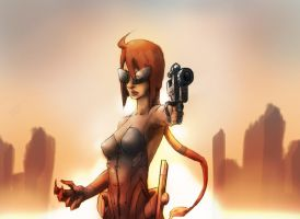 female comic character futuristic apocalyptic by ryoar2