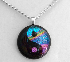 Colorful YinYang Glass Pendant by HoneyCatJewelry