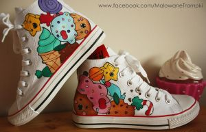 Ice cream and lollipop painted shoes sneakers by karka17