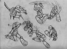 Turtle sketches by RednBlackDevil