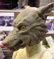 Werewolf mask sculpture WIP by FeralWorks