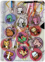 FOR SALE - Chinese Zodiac charms by Nekozumi