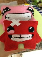 Super Meat Boy plushies by Minto-sama
