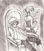one piece, nami and luffy by heivais