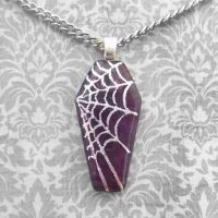 Purple Spiderweb Coffin by HoneyCatJewelry