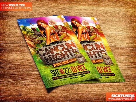 Cancun Spring Break Flyer Template PSD by Industrykidz
