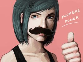 Moustache girl by FonteArt