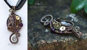 Purple steampunk pendant by ukapala