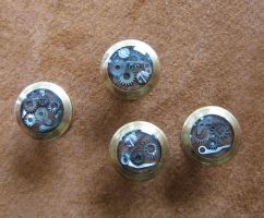 Steampunk shirt or collar studs with steel parts by ProfessorBats