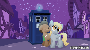 Derpy And Doctor Whooves Drawponies Background by drawponies