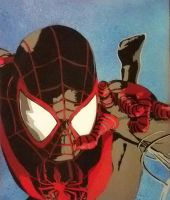ultimate spiderman miles morales spraypaint by toolowbrow
