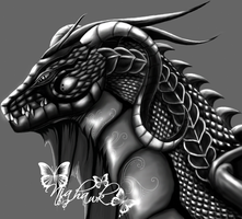 A black dragons head by Niahawk
