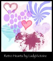 Retro Heart Brushes by LadyVictoire-Brushes