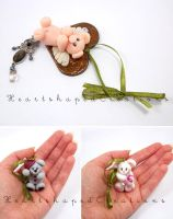 Piglet, Mouse, Bear Xmas Set by HeartshapedCreations