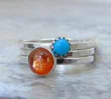 Sunstone Turquoise Silver Ring Stacking Set by SilverSmack