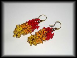 Red-orange-yellow coral earring by jasmin7