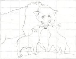 Wolves. -Art project.- by CaffeinatedSketches