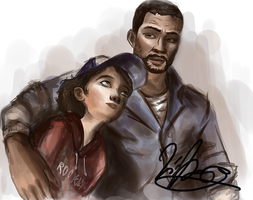 Clementine and Lee on the Train by Elizeon